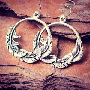 Jewelry - Silvertone Feather Hoop Earrings